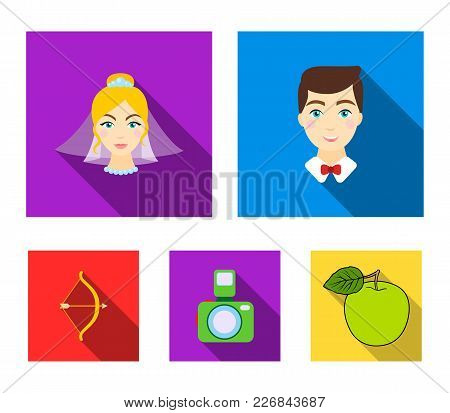 Groom, Bride, Photographing, Arrow Of The Cupid. Wedding Set Collection Icons In Flat Style Vector S