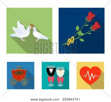 Two Red Roses With Rings, Pigeons Kissing With Hearts, Wedding Glasses With Bows And Champagne, A Ca