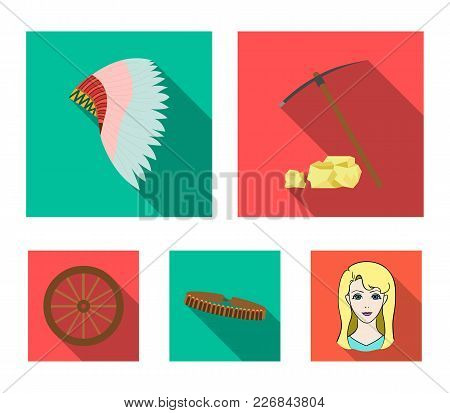 Pickaxe And Stones, Bandolier, Cartwheel, Mohawk.wild West Set Collection Icons In Flat Style Vector