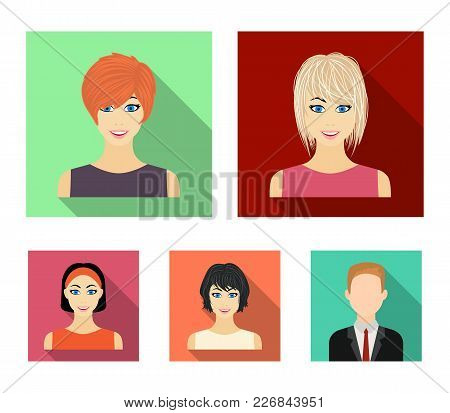 Types Of Female Hairstyles Flat Icons In Set Collection For Design. Appearance Of A Woman Vector Sym