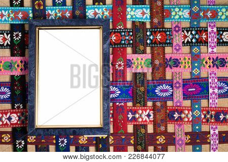 Frame To Insert The Picture On The Woven Pattern Of The Ribbons With Ornaments