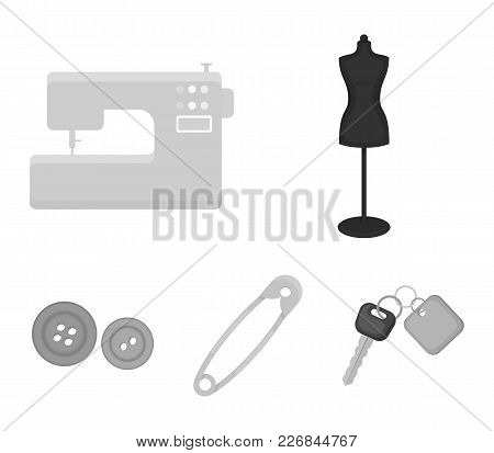 Electric Sewing Machine, Dummy On The Stand, Pin, Buttons.atelier Set Collection Icons In Monochrome