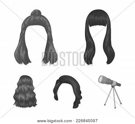 Long, Red And Other Types Of Hairstyles. Back Hairstyle Set Collection Icons In Monochrome Style Vec