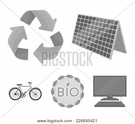 Bio Label, Eco Bike, Solar Panel, Recycling Sign.bio And Ecology Set Collection Icons In Monochrome