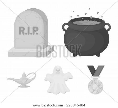 A Witch's Cauldron, A Tombstone, A Ghost, A Gin Lamp.black And White Magic Set Collection Icons In M