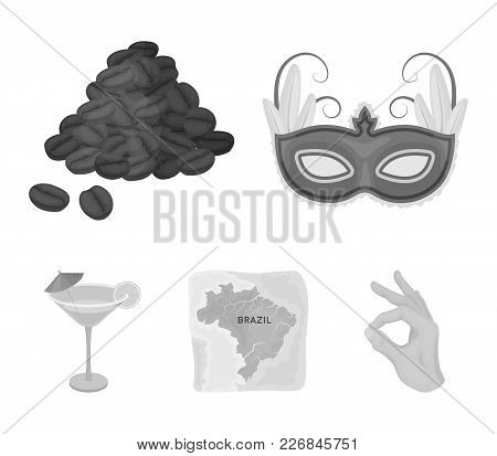 Brazil, Country, Mask, Carnival . Brazil Country Set Collection Icons In Monochrome Style Vector Sym