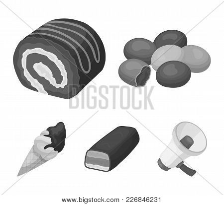 Dragee, Roll, Chocolate Bar, Ice Cream. Chocolate Desserts Set Collection Icons In Monochrome Style
