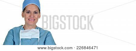 Attractive Female Surgeon Wearing Surgical Mask And Hat. Horizontal Size Banner With Copy Space.
