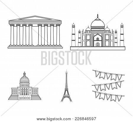 Building, Interesting, Place, Tower .countries Country Set Collection Icons In Outline Style Vector