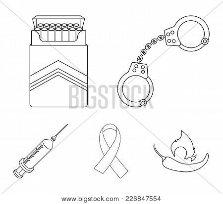 Handcuffs, Cigarettes, Aids Tape, Syringe. Drugs Set Collection Icons In Outline Style Vector Symbol