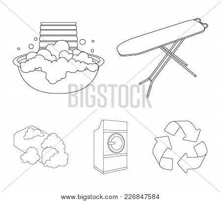 Ironing Board And Other Accessories. Dry Cleaning Set Collection Icons In Outline Style Vector Symbo