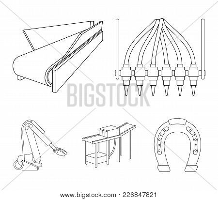 Modern Equipment And Other  Icon In Outline Style.machine Tools And Equipment Factory Icons In Set C