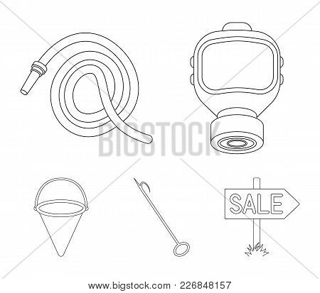 Gas Mask, Hose, Bucket, Bagore. Fire Department Set Collection Icons In Outline Style Vector Symbol