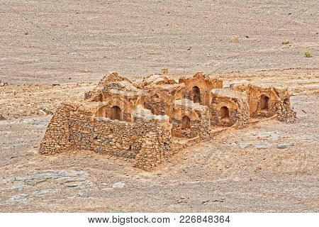 Yazd, Iran - May 4, 2015: Aerial View Of The Tower Of Silence Disused Buildings At The Foot Of The H