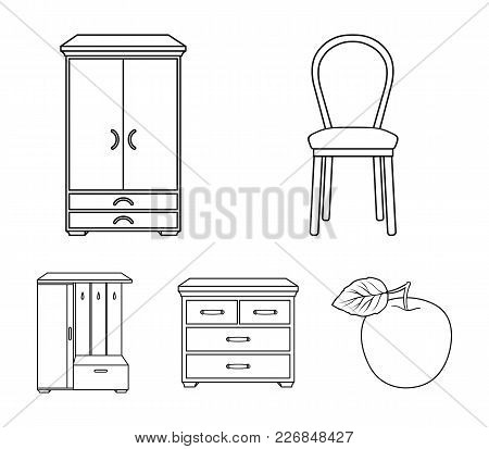 Armchair, Cabinet, Bedside, Table .furniture And Home Interiorset Collection Icons In Outline Style