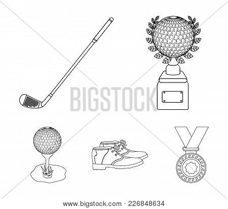 Cup, Golf Club, Ball On The Stand, Golfer Shoes.golf Club Set Collection Icons In Outline Style Vect