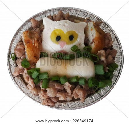 Steamed Egg With Minced Pork And Fired Fish Ball And Steamed Fish With Owl Style And Green Onion
