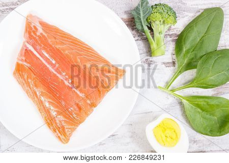 Fresh Food Containing Omega 3 Acids, Natural Minerals And Dietary Fiber, Healthy Nutrition And Acid