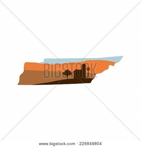 Tennessee State Shape With Farm At Sunset W Windmill, Barn, And A Tree