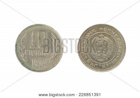 Set Of Commemorative The Bulgarian Coin, The Nominal Value Of 10 Stotinki, From 1974. Isolate On Whi