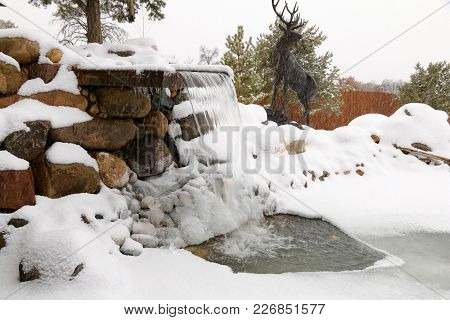 Winter Wonderland In Our Front Yard With Waterfall