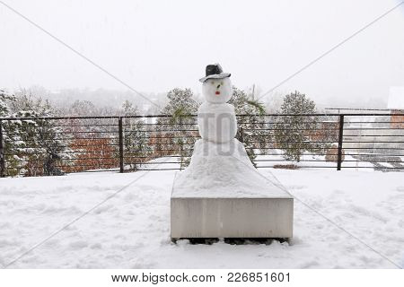A Snowman Being Snowed On In Durango, Co