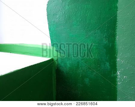 Abstract Grunge Tones From The Stripes And Rectangles Of Green Paint Are Different Shades, On The Ri