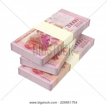 Venezuelan Bolivares bills isolated on white with clipping path. 3D illustration.
