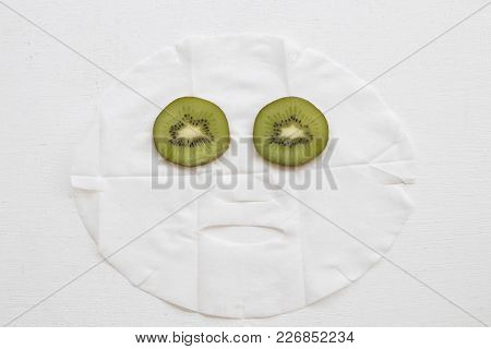 Real Nature Mask Extracts From Fruit Kiwi Fro Face Skin Care Brightening Pure Nature On Background W