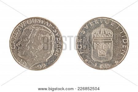 Set Of Commemorative The Swedish Coin, The Nominal Value Of 1 Kronor, From 1992, Shows A Portrait Ca