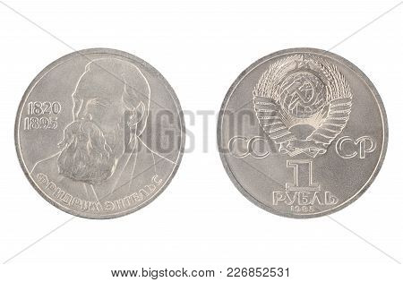Set Of Commemorative The Ussr Coin, The Nominal Value Of 1 Ruble.from 1985, Shows Friedrich Engels 1