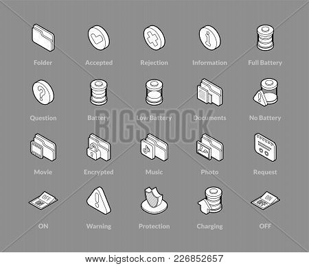 Isometric Outline Icons, 3d Pictograms Vector Set - Interface Symbol Collection
