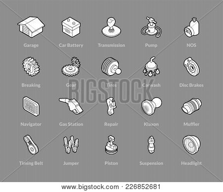 Isometric Outline Icons, 3d Pictograms Vector Set - Car Parts And Services Symbol Collection