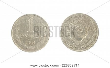 Set Of Commemorative The Ussr Coin, The Nominal Value Of 1 Ruble.from 1964. Isolate On White Backgro