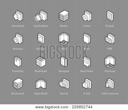 Isometric Outline Icons, 3d Pictograms Vector Set - Book Symbol Collection