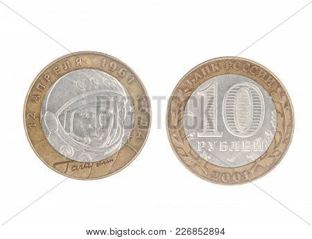 Set Of Commemorative Of The Ussr Coin, The Nominal Value Of 10 Ruble.from 2001, Shows Yuri Gagarin (