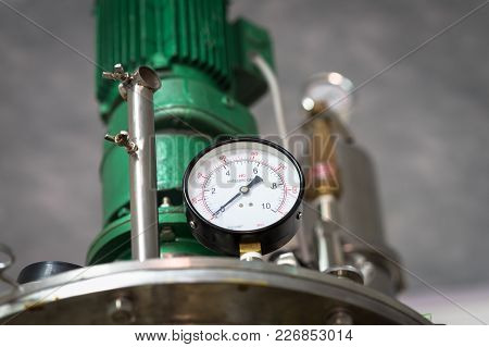 Pressure Gauge, Measuring Instrument Close Up On Pneumatic Control System.