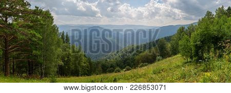 Panorama From The Top Of Mount Tserkovka In The Summer Resort Of Belokurikha In Altai Krai