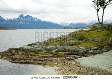 The Beagle Channel And Andes Mountains From Tierra Del Fuego National Park.