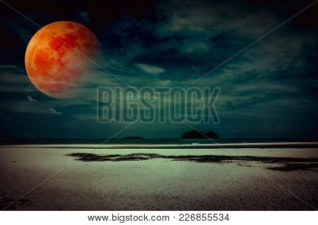 Beautiful Fantasy Tropical Beach Of Seascape In Night. Attractive Red Super Moon Or Blood Moon On Da