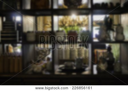 Wooden Shelf Of Collection Items, Stock Photo