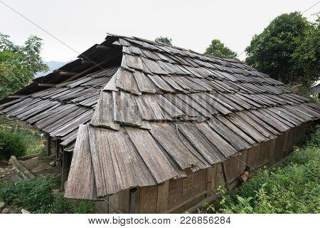 Old Wooden Roof Of Ethnic Minority House In Yen Bai Province, Vietnam