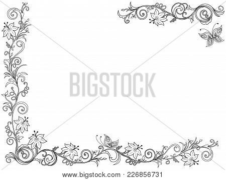 Ornate Swirl Floral Frame With Flowers And Butterfly On The White Background As A Greeting Card Vect