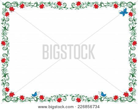 Colourful Ornate Swirl Floral Frame With Flowers And Butterfly On The White Background As A Greeting
