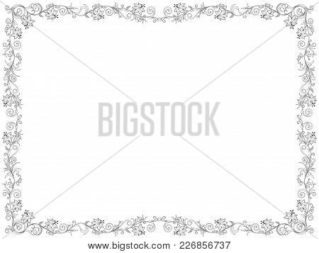 Ornate Swirl Floral Frame With Flowers On The White Background As A Greeting Card Vector Illustratio
