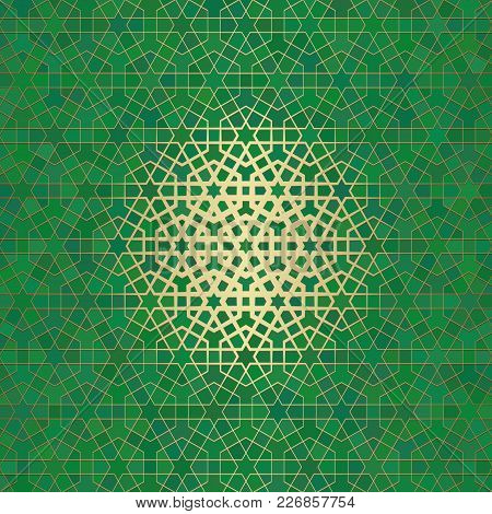 Abstract Background With Islamic Ornament, Arabic Geometric Texture. Golden Lined Tiled Motif Over C