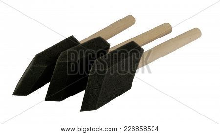 Foam Brushes With Wooden Handle On Side