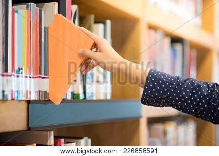 Male Hand Choosing And Picking Orange Book In Public Library, Education Research And Self Learning I