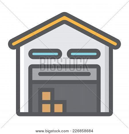 Warehouse Filled Outline Icon, Logistic And Delivery, Storage Sign Vector Graphics, A Colorful Line