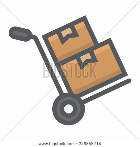 Hand Truck With Cardboard Boxes Filled Outline Icon, Logistic And Delivery, Hand Dolly Sign Vector G